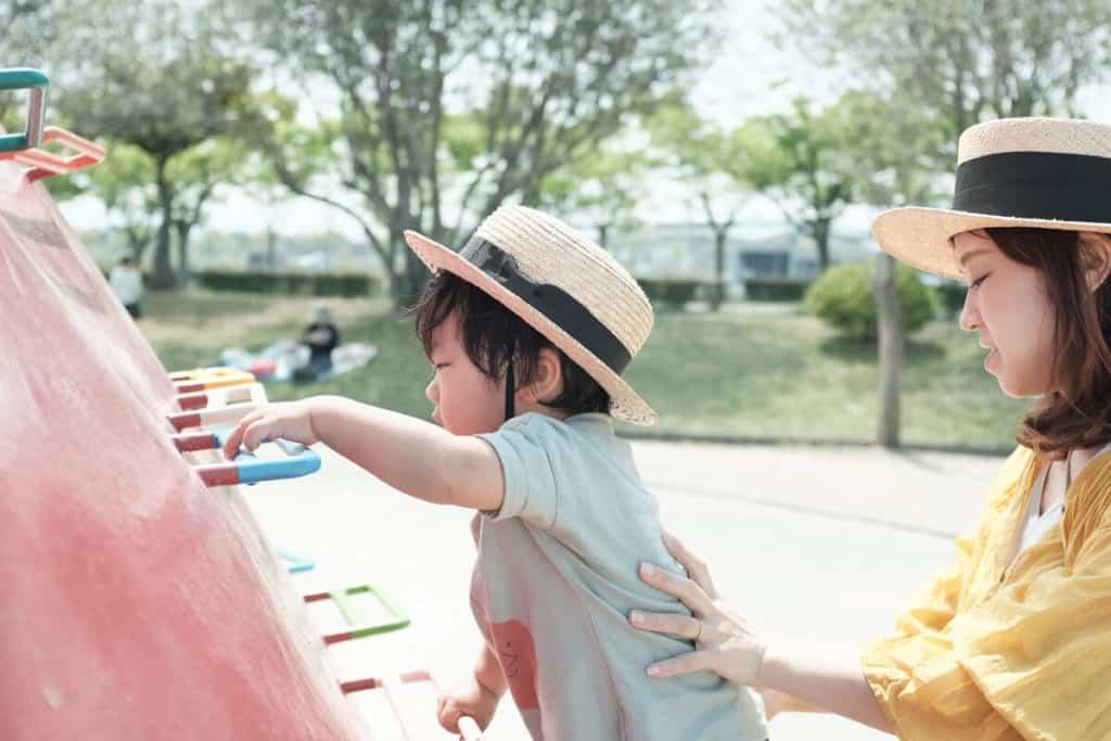 遊具がたくさんある笠岡運動公園